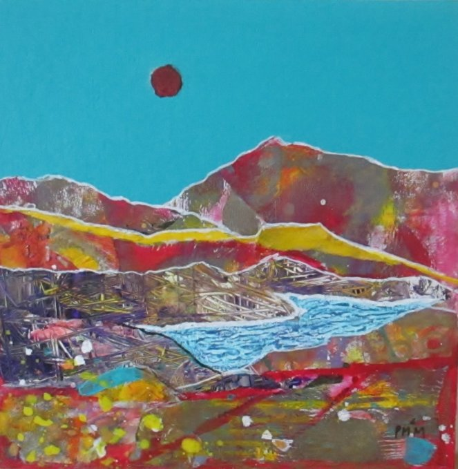 'Dark Sun in a Turquoise Sky' mixed media, 12 x 12 inches + frame £300